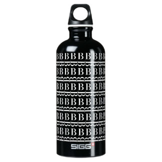 Monogram Initial Pattern, Letter B in White Water Bottle