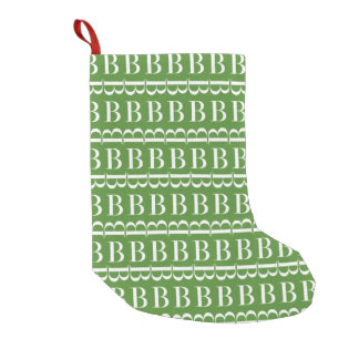 Monogram Initial Pattern, Letter B, White on Green Small Christmas Stocking