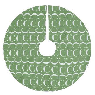 Monogram Initial Pattern Letter C, White on Green Brushed Polyester Tree Skirt