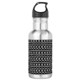 Monogram Initial Pattern, Letter D in White 532 Ml Water Bottle