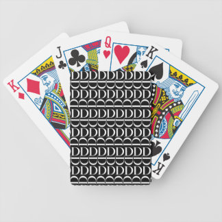 Monogram Initial Pattern, Letter D in White Bicycle Playing Cards