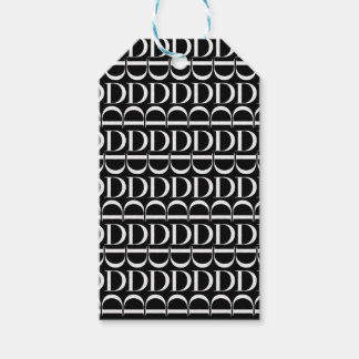 Monogram Initial Pattern, Letter D in White Gift Tags