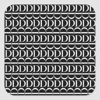 Monogram Initial Pattern, Letter D in White Square Sticker