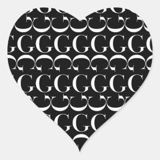 Monogram Initial Pattern, Letter G in White Heart Sticker