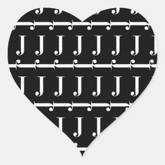Monogram Initial Pattern, Letter J in White Heart Sticker