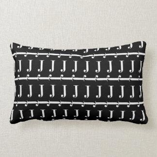 Monogram Initial Pattern, Letter J in White Lumbar Pillow