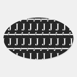 Monogram Initial Pattern, Letter J in White Oval Sticker