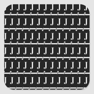 Monogram Initial Pattern, Letter J in White Square Sticker