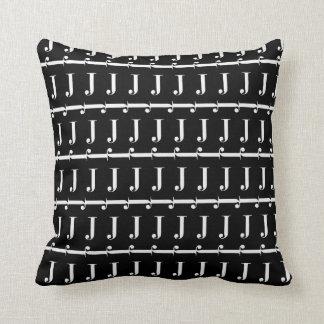 Monogram Initial Pattern, Letter J in White Throw Pillow