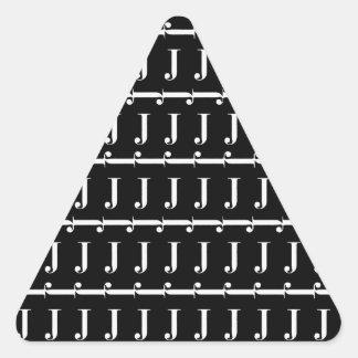 Monogram Initial Pattern, Letter J in White Triangle Sticker