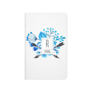 Monogram Initial Personalized Journal Blue Floral