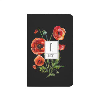 Monogram Initial Personalized Journal Red Poppies
