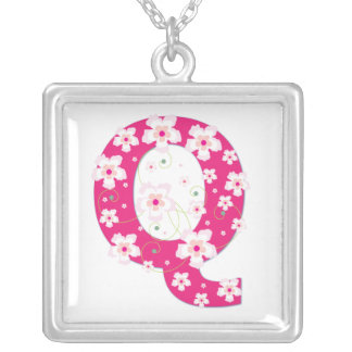Monogram initial Q pretty pink floral necklace