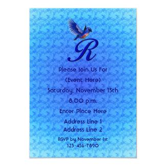 Monogram Initial R Elegant Bluebird Invite