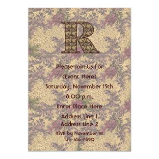 Monogram Initial R Elegant Floral Invite