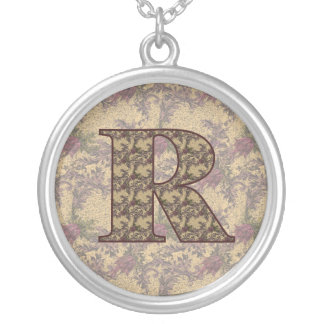 Monogram Initial R Elegant Floral Necklace