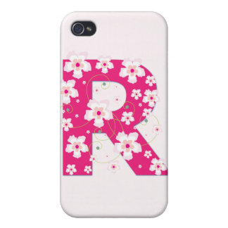 Monogram initial R pretty floral iphone 4 case
