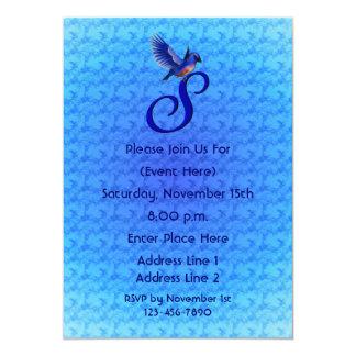 Monogram Initial S Elegant Bluebird Invite