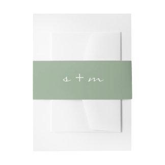 Monogram Initial Simple Modern Minimalist Wedding Invitation Belly Band