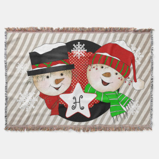 Monogram Initial Snowmen on Gray Stripe Throw