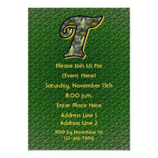 Monogram Initial T Daisies Green Floral Invite