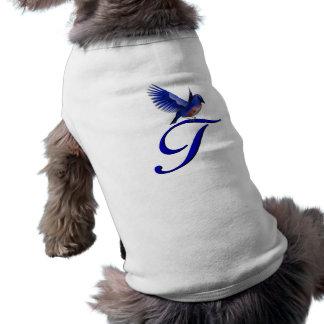 Monogram Initial T Elegant Bluebird Dog Shirt