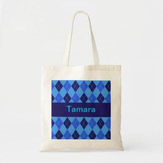 Monogram initial T personalised name tote bag