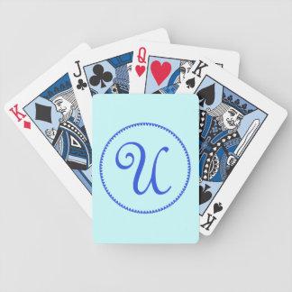 Monogram initial U blue hearts elegant stylish Poker Deck