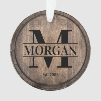 Monogram Initial Vintage Family Name Faux Wooden Ornament