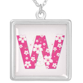 Monogram initial W pretty pink floral necklace