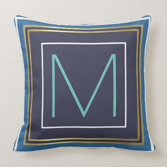 monogram (initial) with blue & gold border throw pillow