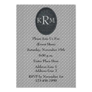 Monogram Initials Black Floral Design Invite