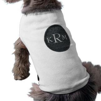 Monogram Initials Black Floral Dog Shirt