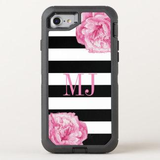 Monogram Initials Black Stripes Pink Floral Glam OtterBox Defender iPhone 8/7 Case