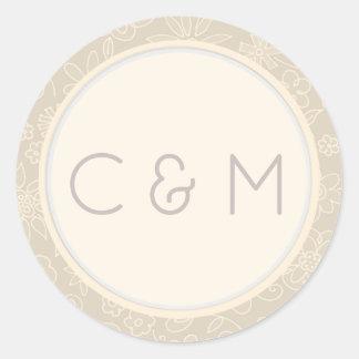 Monogram Initials Gray Pink Floral Swirls Classic Round Sticker