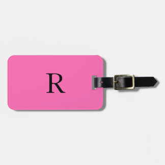 Monogram Initials Name Hot Pink Black Trendy Luggage Tag