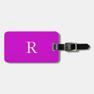 Monogram Initials Name Purple White Trendy Cool Luggage Tag