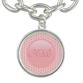 Monogram initials on rose pink polka dots charm bracelet