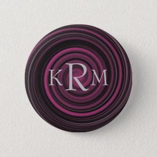 Monogram Initials Plum Swirl Customizable Button