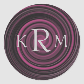 Monogram Initials Plum Swirls Sticker