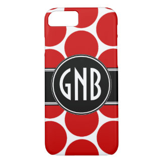 MONOGRAM INITIALS RED POLKA DOTS iPhone 8/7 CASE