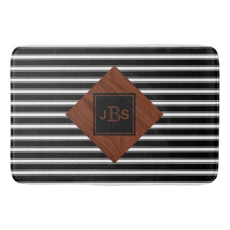 Monogram Initials | Rustic Wood Black White Stripe Bath Mat