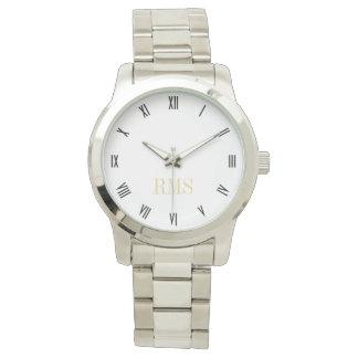 Monogram Initials Unisex Silver Bracelet Watch