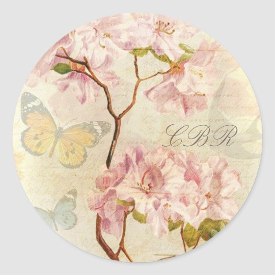 Monogram Initials Vintage Chic Elegant Floral Pink Classic Round Sticker