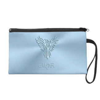 Monogram initials with Ice-blue Phoenix image Wristlets