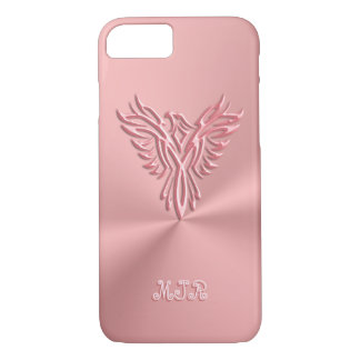 Monogram initials with Pink Phoenix Emblem Design iPhone 7 Case