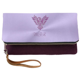 Monogram initials with Purple Phoenix Emblem Clutch