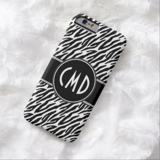 MONOGRAM INITIALS ZEBRA ANIMAL PRINT BARELY THERE iPhone 6 CASE