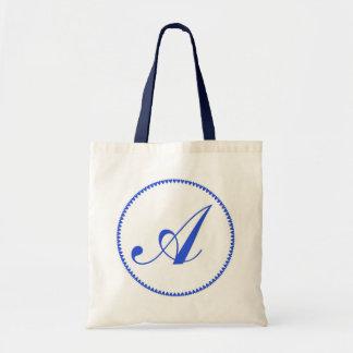 Monogram initital letter A blue tote bag