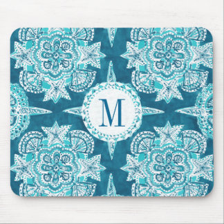 Monogram INNER MERMAID COMPASS Aqua Shell Moroccan Mouse Pad